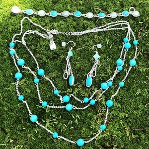 Chaps Turquoise Necklace Monet Earrings Bracelet